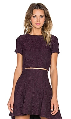 Alice + Olivia Sarina Boxy Crop Top in Plum