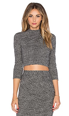 Alice + Olivia Christa Mockneck Crop Top in Grey Multi