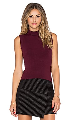 Alice + Olivia Farley Turtleneck Top in Merlot