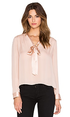 Alice + Olivia Irma Tieneck Top in Dusty Pink