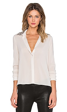 Alice + Olivia Saira Embellished Collar Button Up in Antique