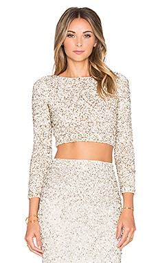 Alice + Olivia Lace Crop Top in Cream