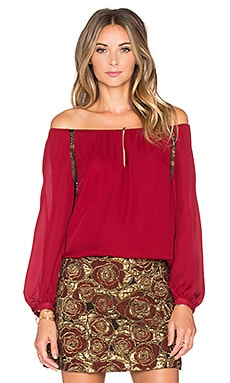 Daroda Top in Red & Black