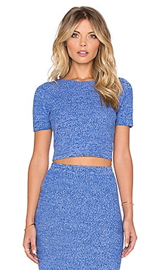 Solange Crop Top in Blue & White