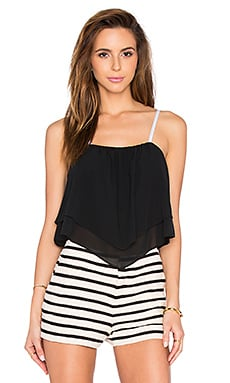 Alice + Olivia Castor Top in Black & Off White