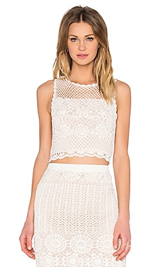 Alice + Olivia Izzie Crop Top in Cream & Nude