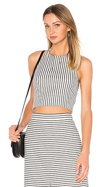 Jaymee Halter Crop Top in Cream & Black