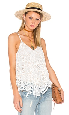 Emmeline Lace Tank in White & Sesame