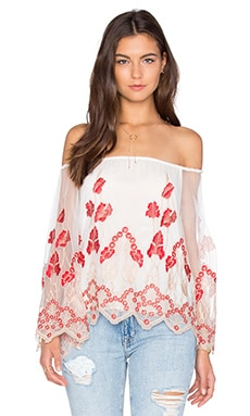 Priya Off the Shoulder Top in Cream & Poppy