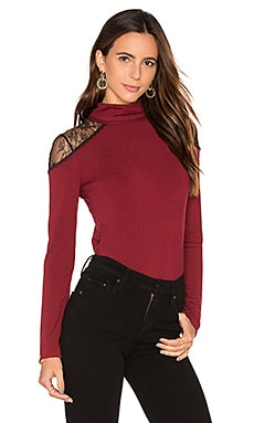 Alice + Olivia Krystalle Lace Shoulder Top in Bordeaux & Black