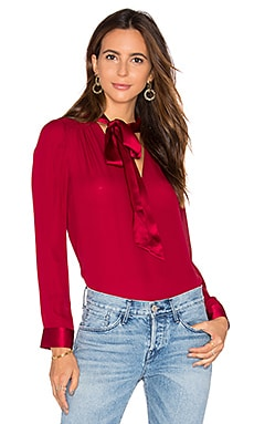 Alice + Olivia Irma Neck Tie Blouse in Bordeaux