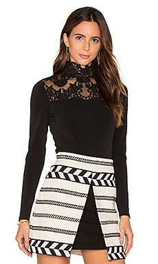 Alice + Olivia Jennine High Lace Yoke Top in Black