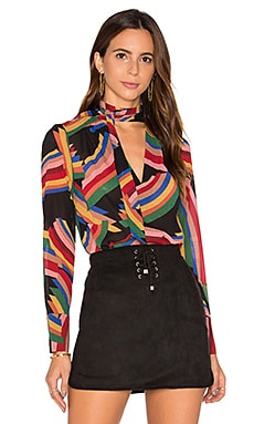 Alice + Olivia Aisha Tie Neck Blouse in Mod Stripe Multi