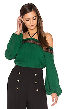 Esmeralda Off Shoulder Top in Ivy & Black