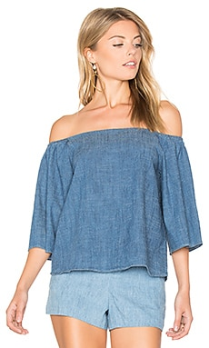 Christy Off Shoulder Top in Medium Chambray