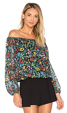 Alta Peasant Top in Chelsea Wildflower & Black
