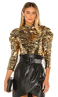 Brenna Sequin Puff Sleeve Top Alice + Olivia $276