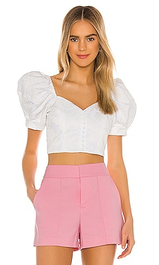 Lakita Sweetheart Puff Sleeve Top Alice + Olivia $295
