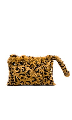 Alice + Olivia Bengal Tiger Rabbit Fur Muff in Brown Multi