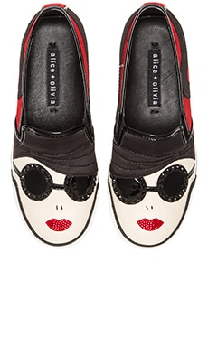 Alice + Olivia Stacey Sneaker in Scarlet & Black