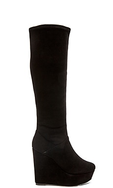 Alice + Olivia Yula Stretch Suede Boot in Black