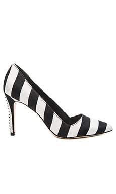Alice + Olivia Dina 95 Heel in Black & White Stripe