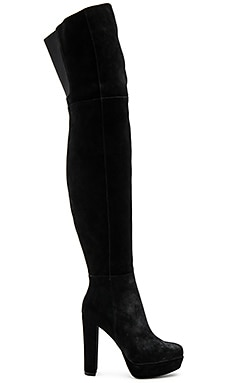 Halle Platform Over the Knee Boot en Noir