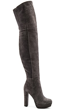 Halle Platform Over the Knee Boot em Carvão