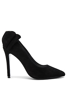 Dayna Suede Bow Back Heel in Black