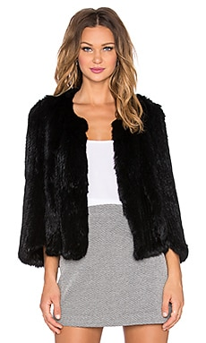Arielle Rabbit Fur Cape in Black