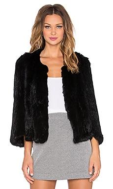 Arielle Rabbit Fur Cape in Black