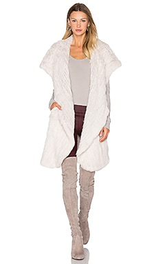 Mix It Up Rabbit Fur Vest in Stone