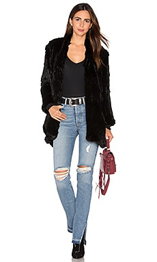 Draped Rabbit Fur Jacket in Black