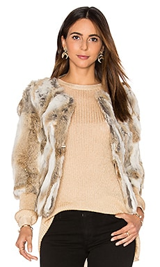 Lined Rabbit Fur Coat em Multi Brown