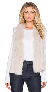 Arielle Rabbit Fur Vest in Stone