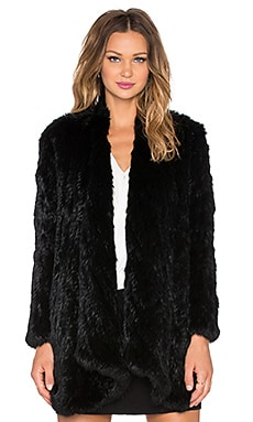 Draped Front Rabbit Fur Coat in Black