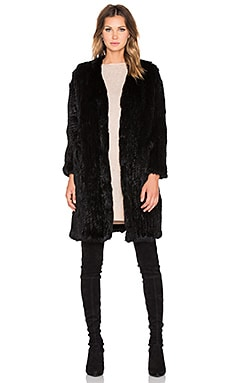 Arielle Rabbit Fur Long Coat in Black