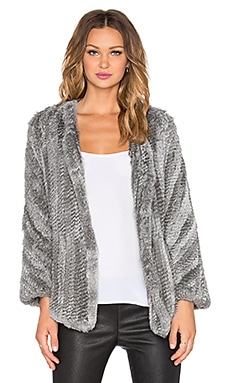 Arielle Rabbit Fur Coat in Multi Grey