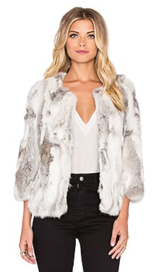 Arielle Lined Rabbit Fur Coat in Multi Grey