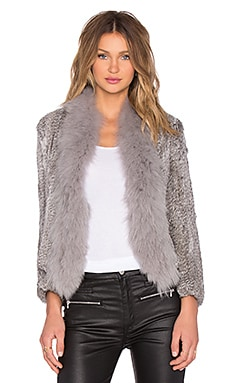 Arielle Cropped Dyed & Natural Rabbit Fur Coat in Multi Grey