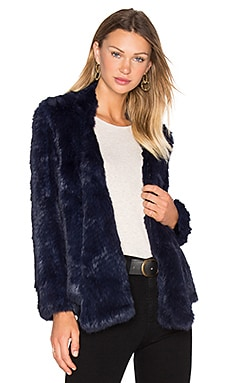 Lapel Rabbit Fur Jacket en Encre