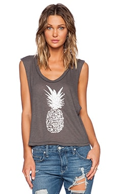 All Things Fabulous Pineapple Crop Muscle Tee in Charcoal