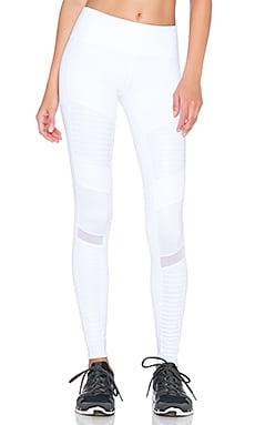 alo Athena Legging in White & White Glossy
