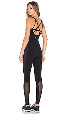 alo Rebel Unitard in Black & Black Glossy