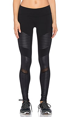 alo Moto Legging in Black & Black Glossy
