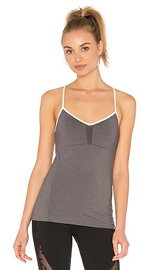 Via Tank with Built in Bra in Stormy Heather & Natural