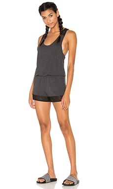 alo Tranquility Romper in Charcoal & Heather Black