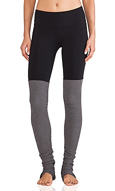 Goddess Ribbed Legging in Black & Stormy Heather