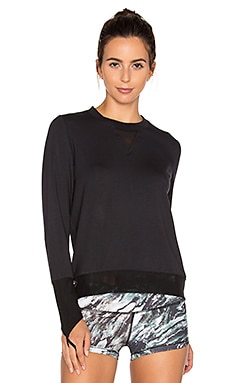 Serene Long Sleeve Top in Black & Black