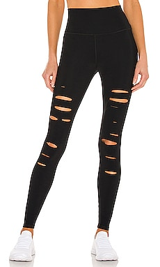 High Waist Ripped Warrior Legging in Black